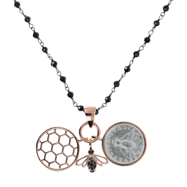 Three Pendants Necklace with Bee Coin and Hive