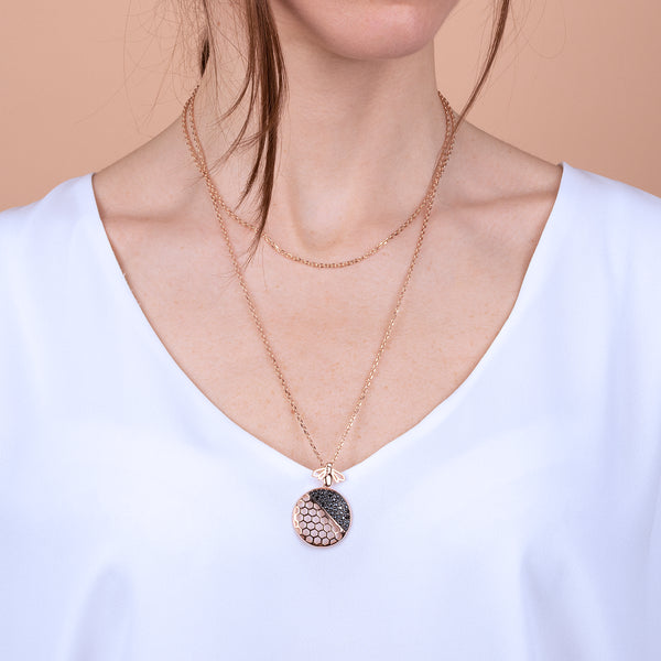 Beehive and Pavé Necklace