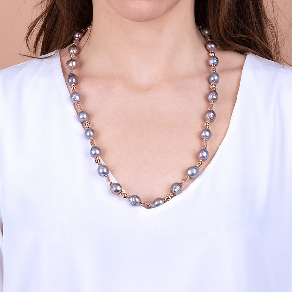 Necklace with Grey Pearls and Quartz Spheres