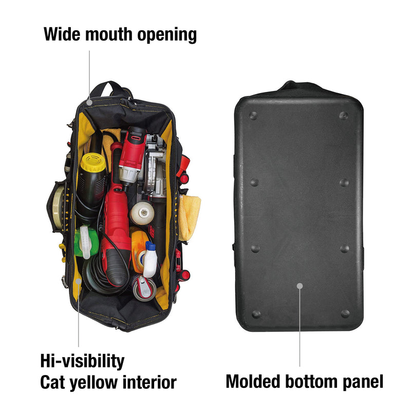 20 in. Tech Widemouth Tool Bag 12 Pocket Heavy Duty 1200D Polyester