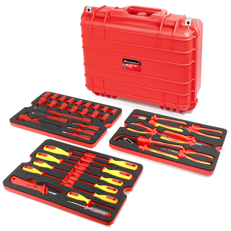 50 Piece VDE Insulated Electrician's Tool Set