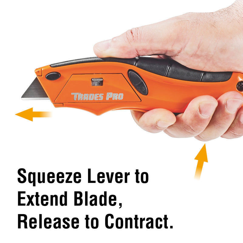 Trades Pro Self-Retracting Squeeze Knife, Safety Automatically Close - 838013