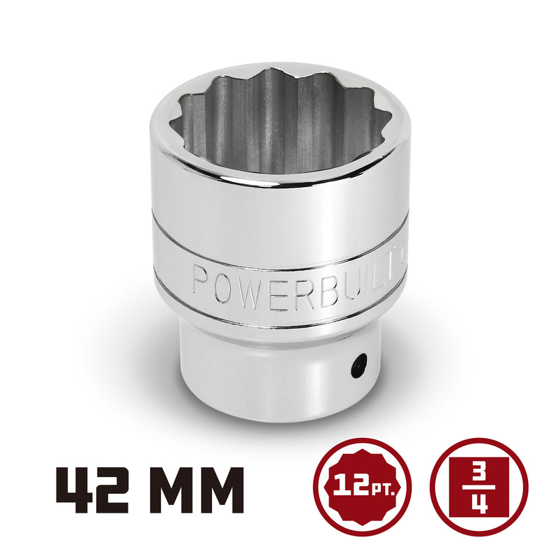 Powerbuilt 3/4 in. Drive x 42mm 12 Point Socket - 943245
