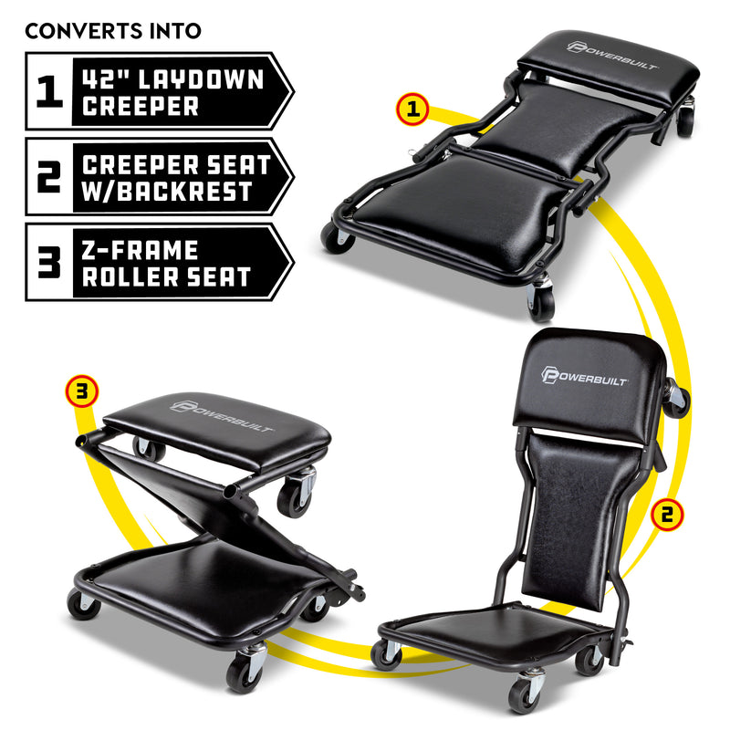 42 in. Triplex 3-in-1 Floor Creeper Seat