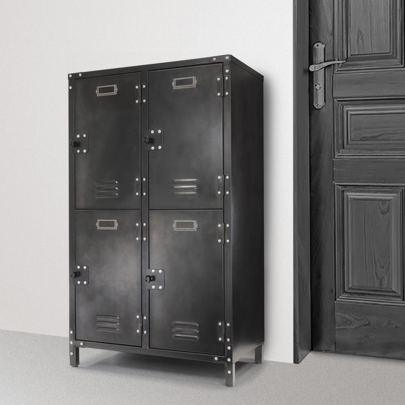 6 Door Steel Locker with Dark Weathered Finish