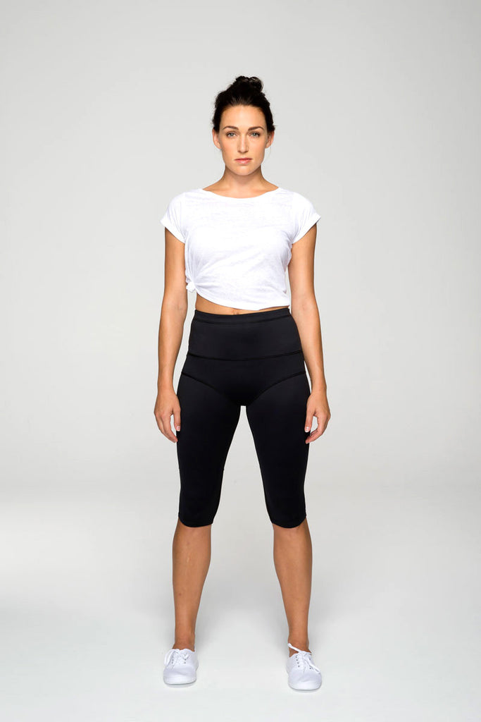 svvet black knee crop leggings front view