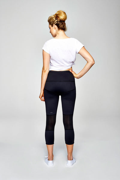 svvet black seven-eighth length tight pants back view