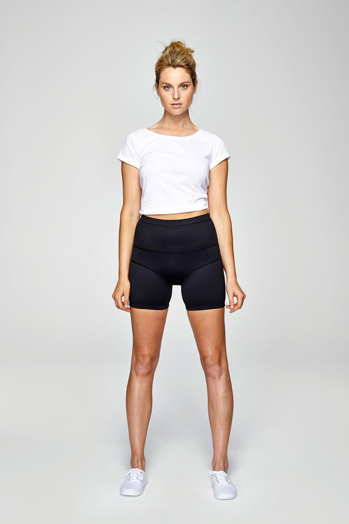 svvet black short length tight pants front view