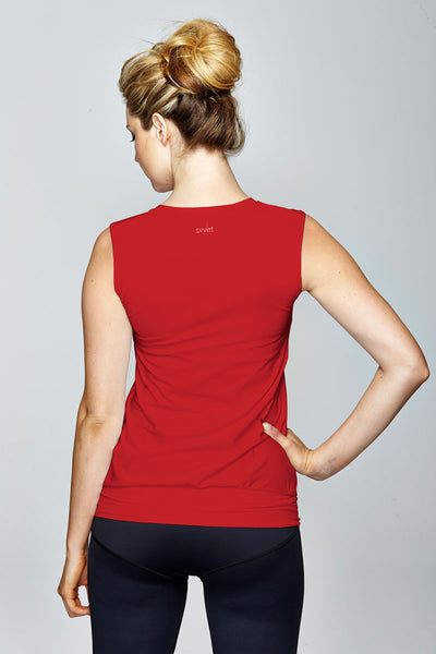 svvet red sleeveless top back view