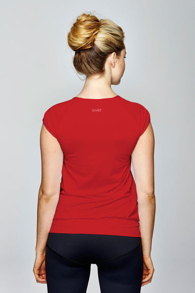 svvet red cap sleeve top back view