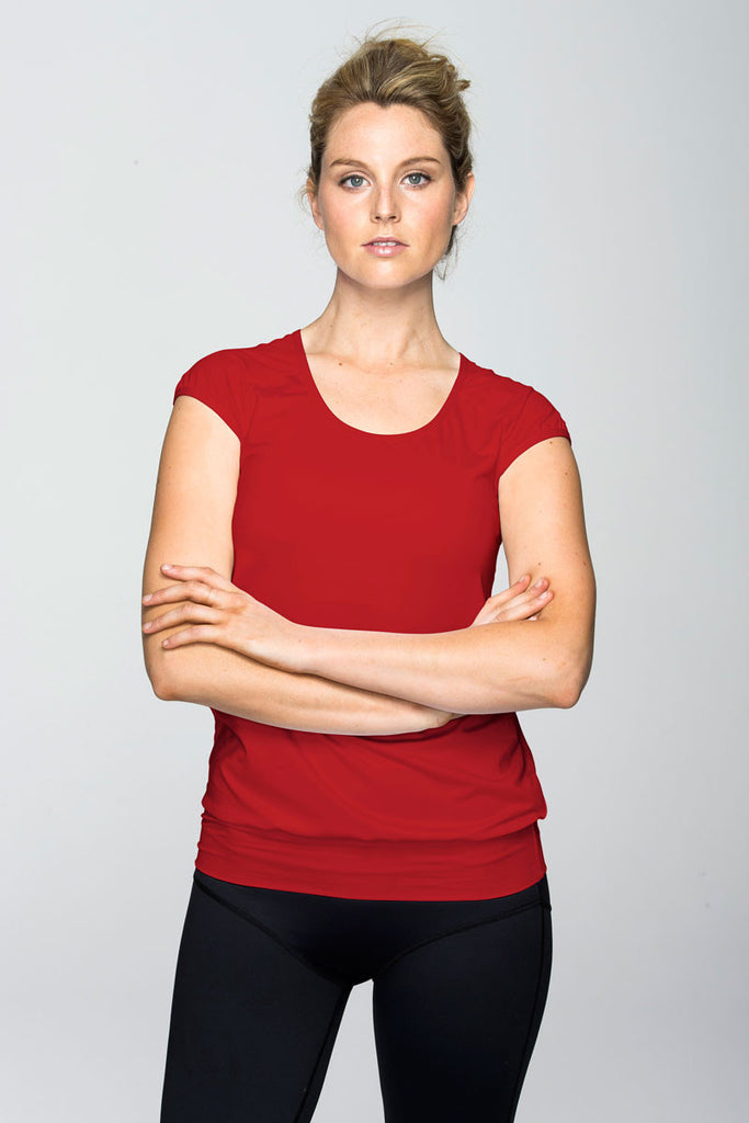 svvet red cap sleeve top front view