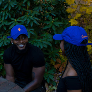 Summer Blues Hat: Royal Blue with Orange Sweetness Embroidery - Econcious Organic Cotton