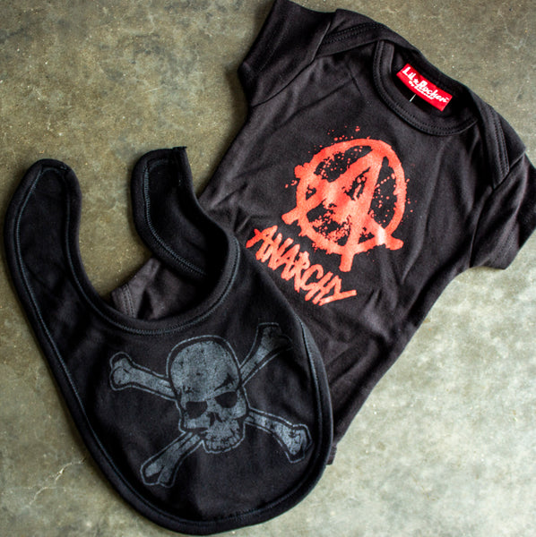 Darkside Anarchy Onesie & Distressed Skull Bib