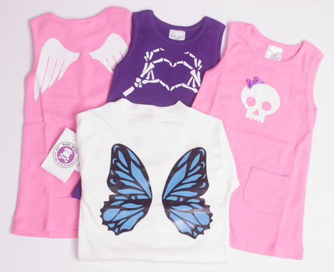 Angel Wings, Pink Skull & Skelly Love Dresses Butterfly Wings Shirt
