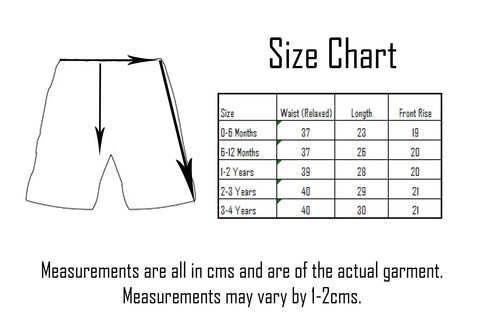Blade & Rose Kids Shorts Size Chart