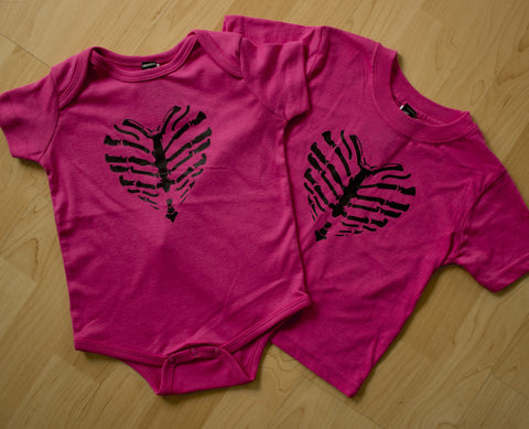 Rudechix Clothing Caged Heart Onesie & Kids Tee Shirt Pink