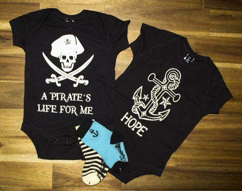Rudechix Clothing Pirate's Life For Me & Hope Anchor Onesies