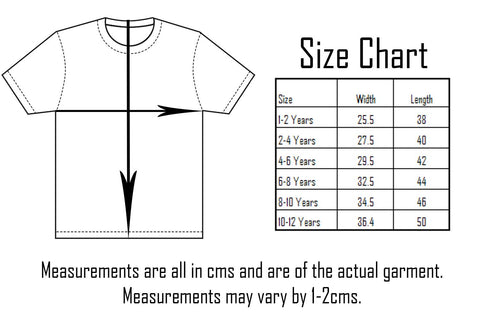 Six Bunnies Girls Tops Sizing Chart