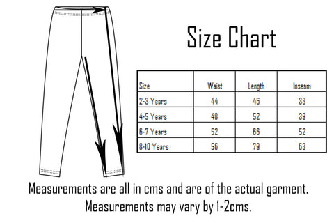 Six Bunnies Leggings Size Chart