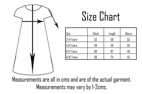Six Bunnies Dress Size Chart