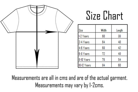 Six Bunnies Kids Tees Sizing Chart