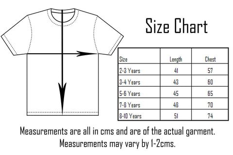 Six Bunnies Short Sleeved Shirt Size Chart