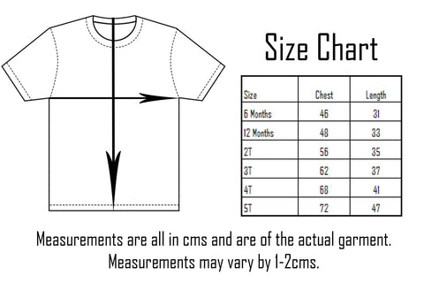 Sourpuss Kids Tee Size Chart