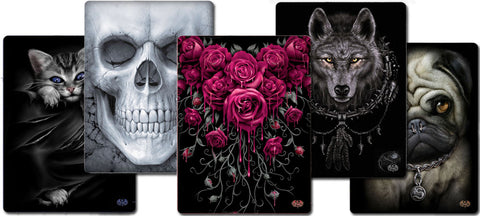 Spiral Direct Blankets Gothic Tribal Warm Tattoo Cat Wolf Pug Skull Roses