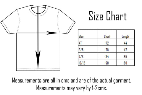 Tottude Clothing Kids Tee Size Chart