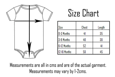 Tottude Clothing Onesie Size Chart