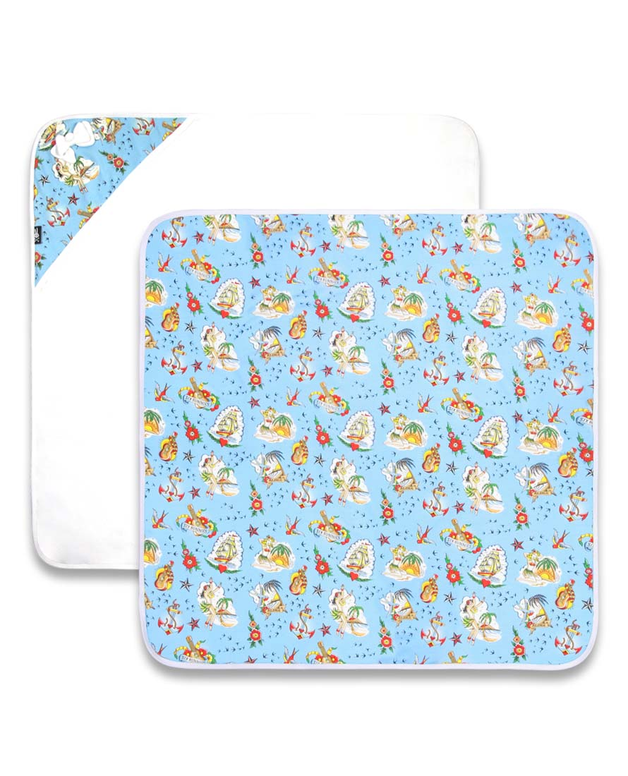 Six Bunnies Aloha Hooded Baby Blanket