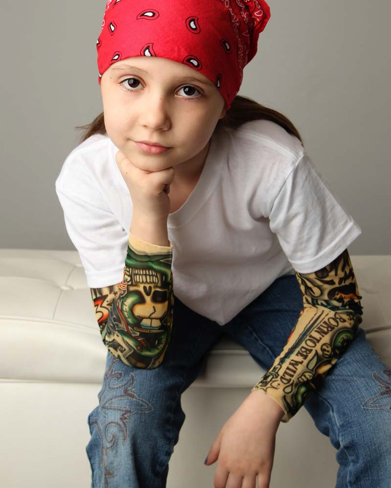 Rock N Roll Tattoo Sleeve Black Kids Tee