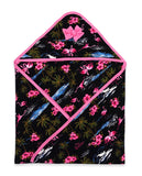Tropical Flamingos Hooded Baby Blanket Black