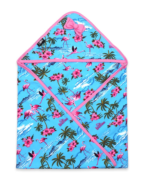 Tropical Flamingos Hooded Baby Blanket Blue