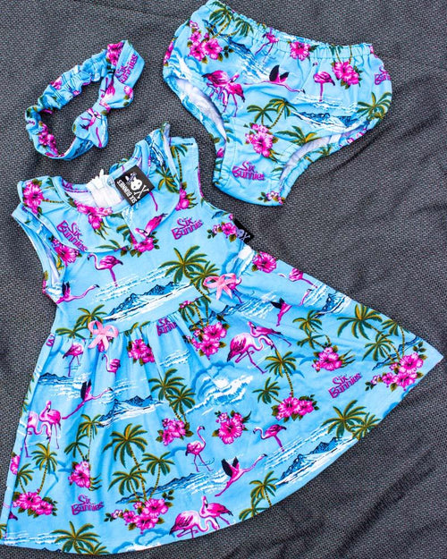 Six Bunnies Tropical Flamingos Blue Baby Dress Set