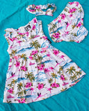 Six Bunnies Tropical Flamingos Cream Baby Dress Set