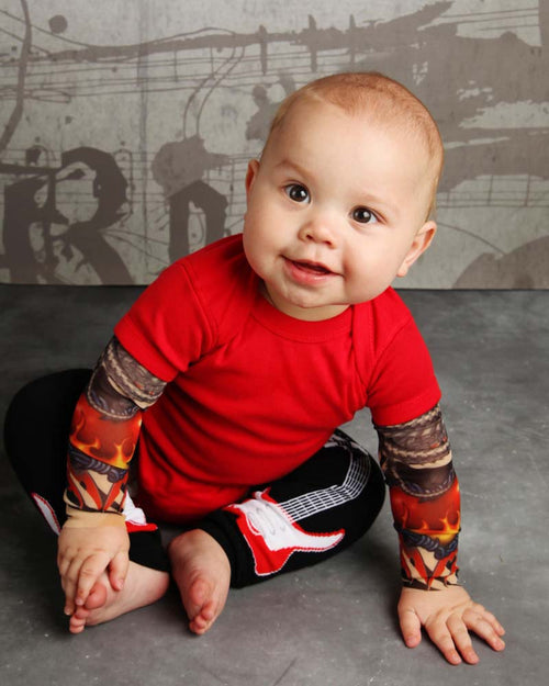 Heart On The Wire Red Tattoo Sleeve Onesie Romper