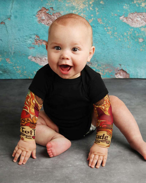 Heart On My Sleeve Black Tattoo Sleeve Onesie Romper