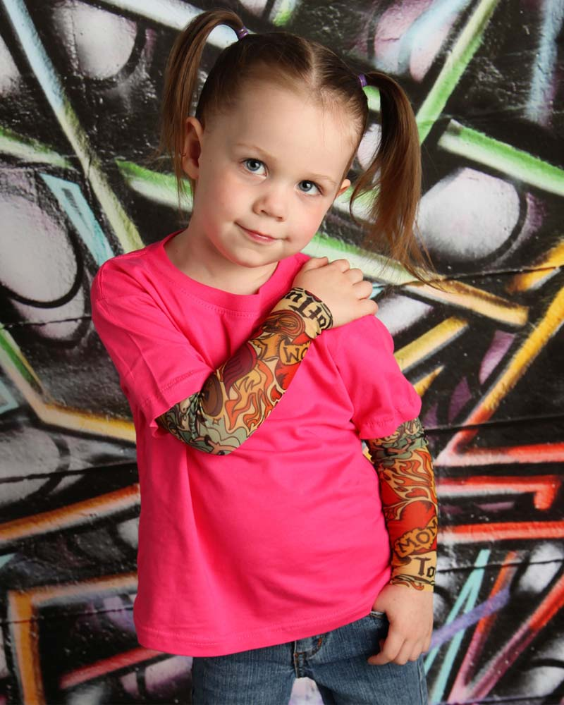 Heart On My Sleeve Pink Tattoo Sleeve Toddler Tee