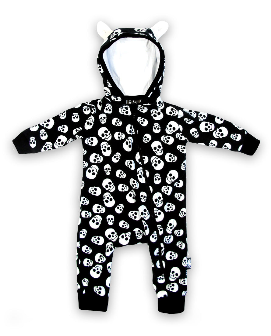 Six Bunnies Whole Lotta Polka Skulls Zippy Playsuit