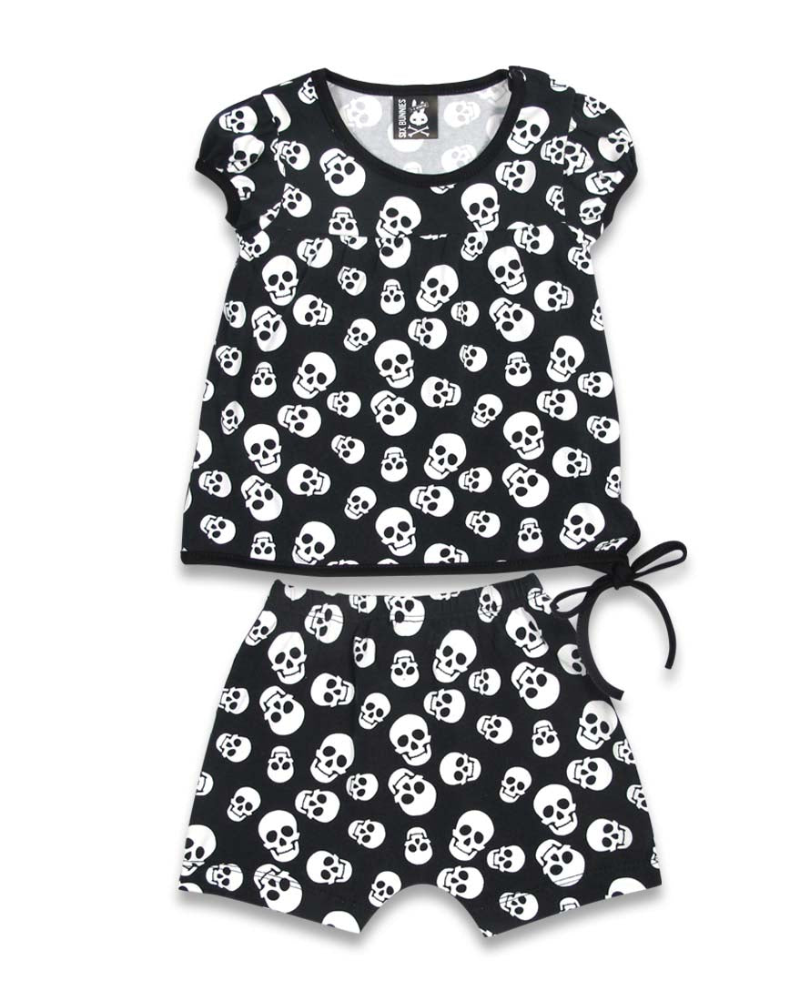 Six Bunnies Baby Whole Lotta Skulls Short Pyjama Set