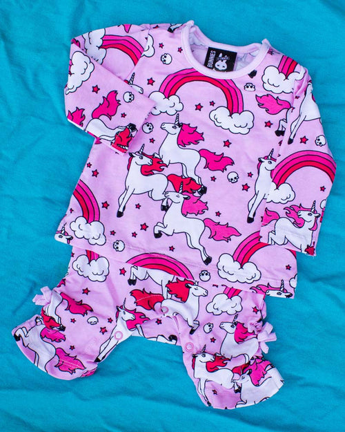 Six Bunnies Pink Rainbows Unicorn Bodysuit