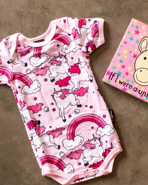 Six Bunnies Pink Rainbows & Unicorns Onesie with Unicorn Book