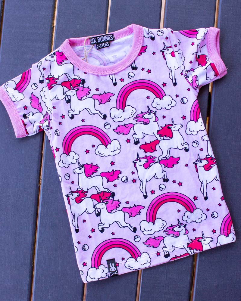 Six Bunnies Rainbows Unicorn Pink Tee
