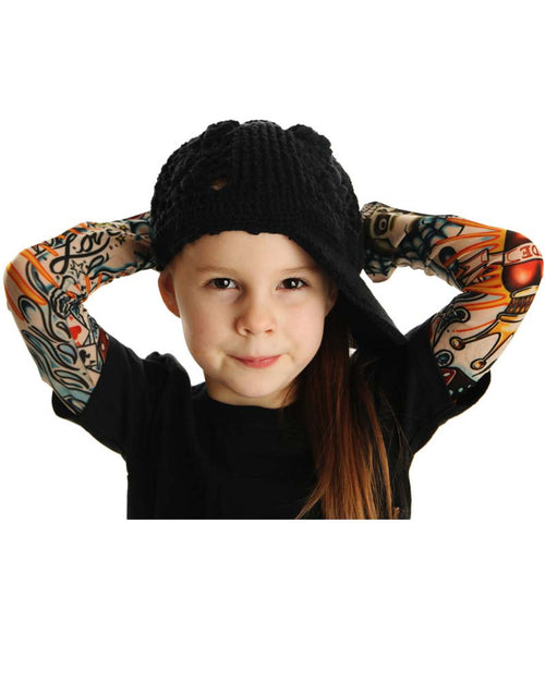 Rockabilly Rebel Tattoo Sleeve Black Kids Tee