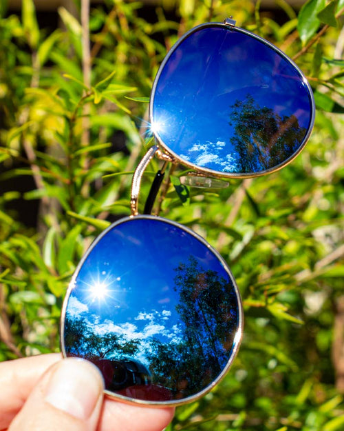 Round FlashColour Mirror Sunglasses - Ice Gold