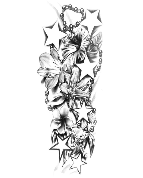 BratTats Star Struck Full Sleeve Temporary Tattoo