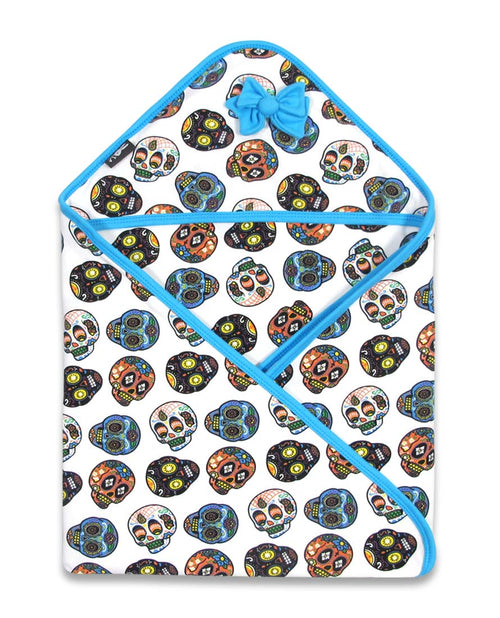 Six Bunnies Sugar Skulls White Hooded Baby Blanket