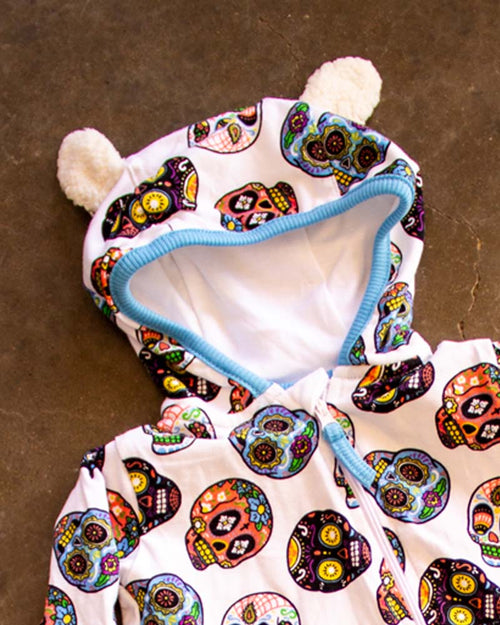 Six Bunnies Sugar Skulls II White Zippy Playsuit