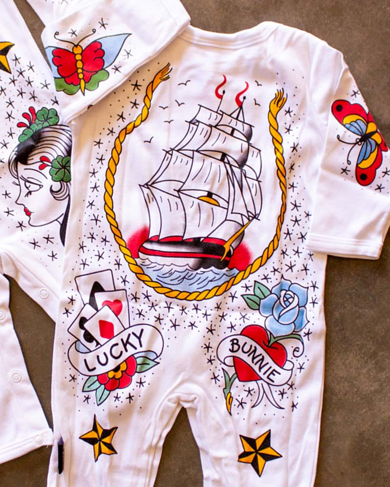 Six Bunnies Tattoo Sailor Playsuit Onesie